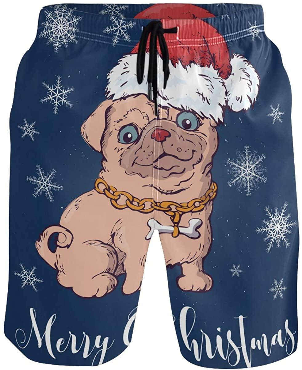 RunningBear Men's Swim Trunks - Christmas Dog Santa Beach Short Men Quick Dry Beach Swimwear