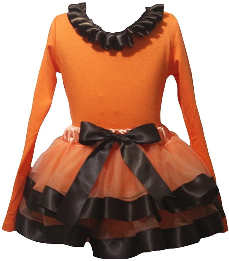 Petitebella Neck Ruffle Plain Orange L/s Shirt Brown Petal Skirt Nb-8y
