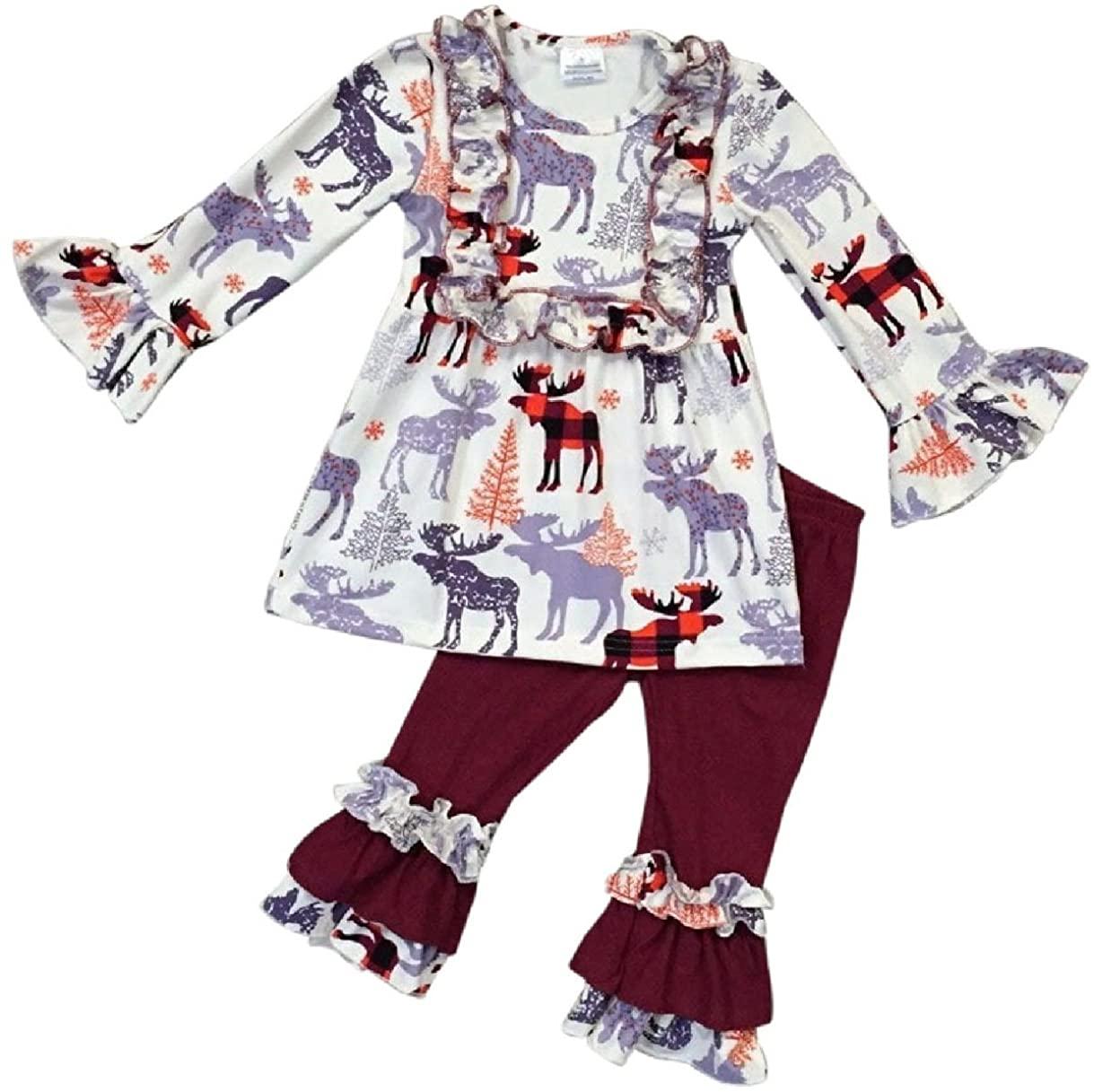 Girls 2 Pieces Dress Set Reindeer Ruffle Dress Legging Pant Clothing Set 2T-8