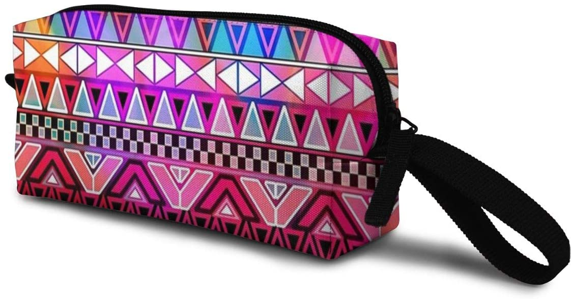 T-JH Bright Aztec Mini Makeup Bag,Portable Cosmetic Bag,Organizer,Toiletry Handbag,Sewing Kit,Storage Pouch for Women Purse