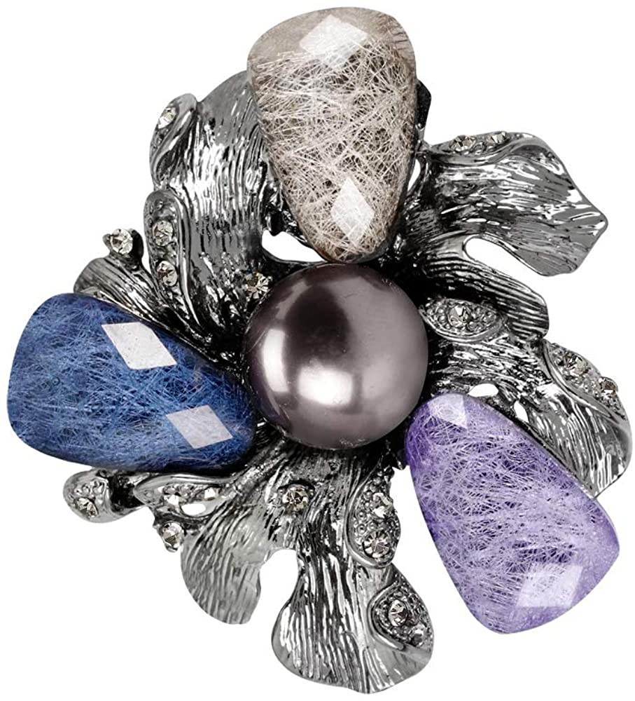 YAZILIND Retro Acrylic Imitation Pearl Flower Brooch Pins Women Breastpin Corsage Girls Jewelry Gift