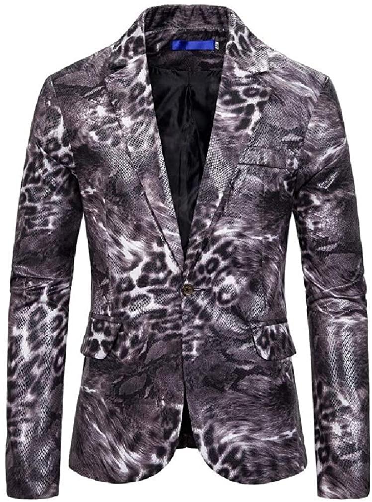 WAWAYA Mens Beast-Printed 1 Button Casual Printed Lapel Dress Blazer Jacket Sport Coat