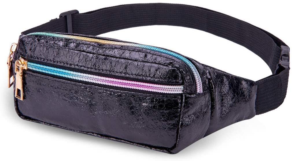 LIVACASA Fanny Pack Waist Bags for Women Shiny Holographic Waist Bum Bag Waterproof for Festival Party Travel Rave Hiking Black