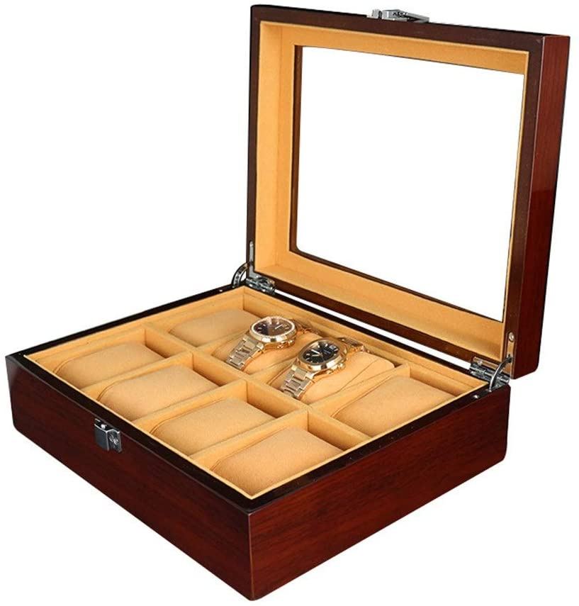 PUEEPDEE Watch Storage Box 8 Slots Unisex Watches Jewelry Storage Box Painted Surface Display Case Organizer Glass Top Flip Cover Watch Storage Boxes for Men (Color : Brown, Size : 260x210x85mm)