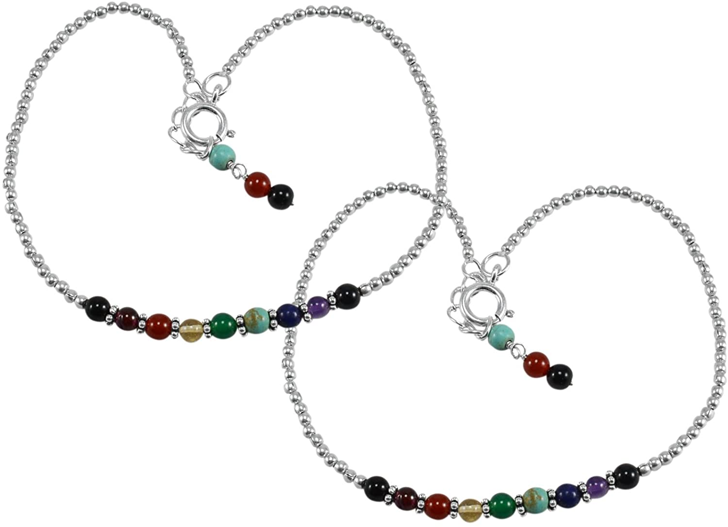 Saamarth Impex Multi Gemstone 925 Sterling Silver Anklet PG-133379