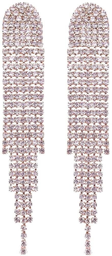 Mlouye Boho Tassel Earrings Long Bohemian Fringe Chain Crystal Chandelier Dangle Drop Earrings for Women Girls