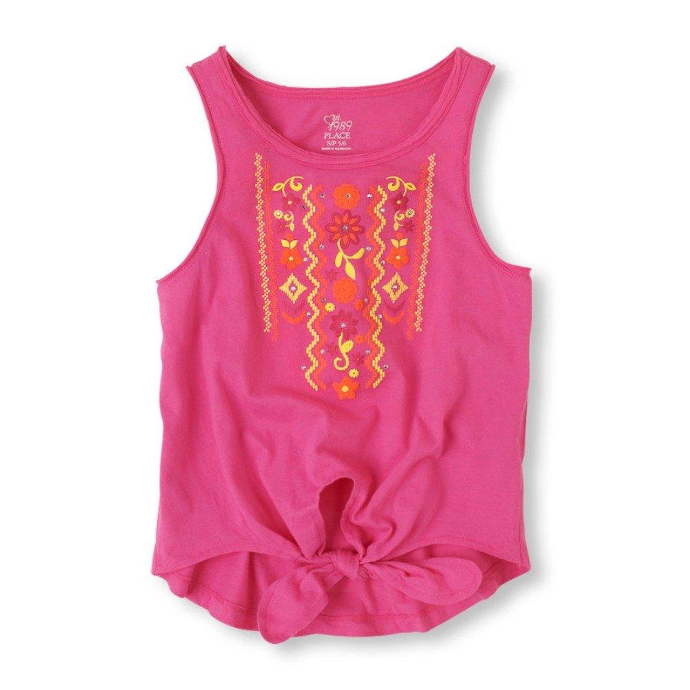 Girls Front Tie Tank Top (S (5-6), Pink)