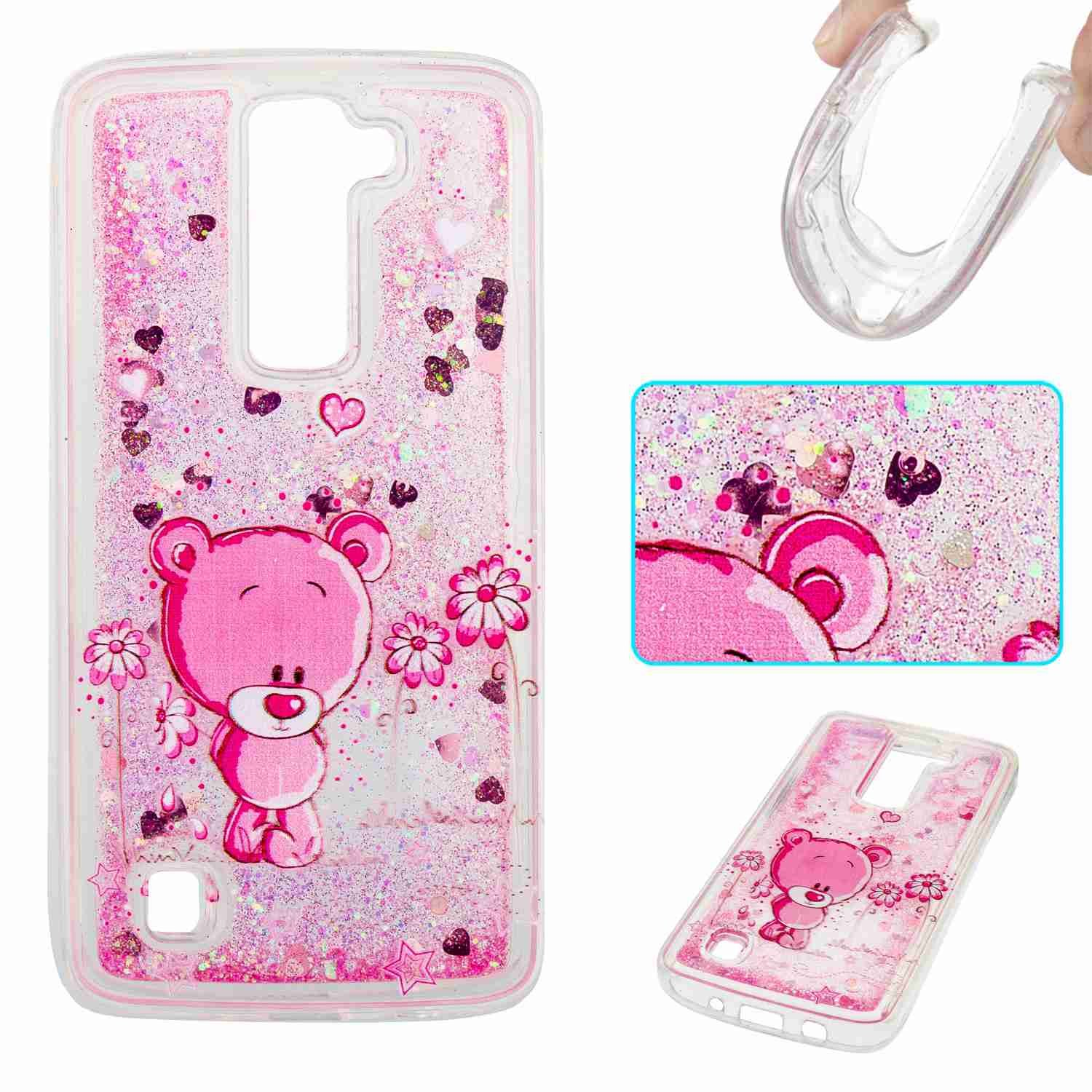 STENES LG K8 Case - 3D Creative Luxury Bling Glitter Sparkle Liquid Case Infused With Glitter and Stars Moving Quicksand Soft Case For LG Phoenix 2 /Escape 3 /LG K8 (2016) - Pink Sweet Heart Bear