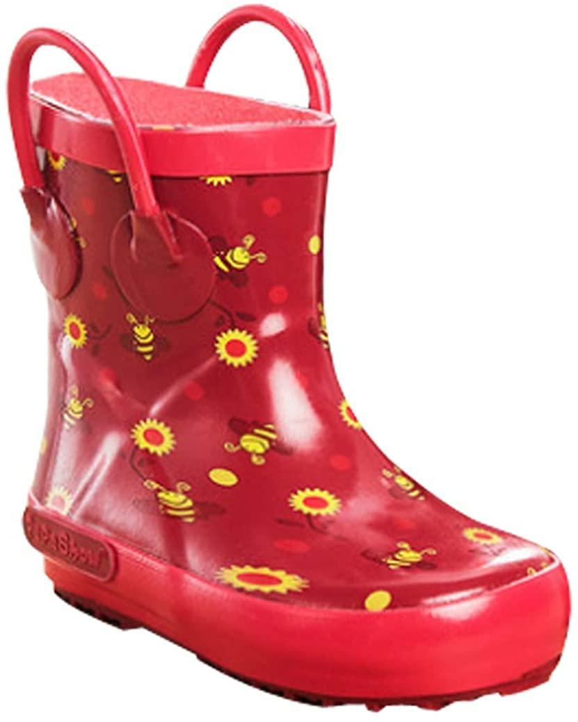 C'wait Kids Animal Anti-Slip Rubber Rain Boots with Easy-on Handles Waterproof