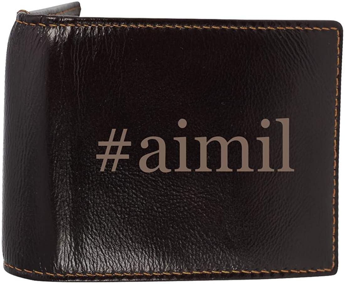 #aimil - Genuine Engraved Hashtag Soft Cowhide Bifold Leather Wallet