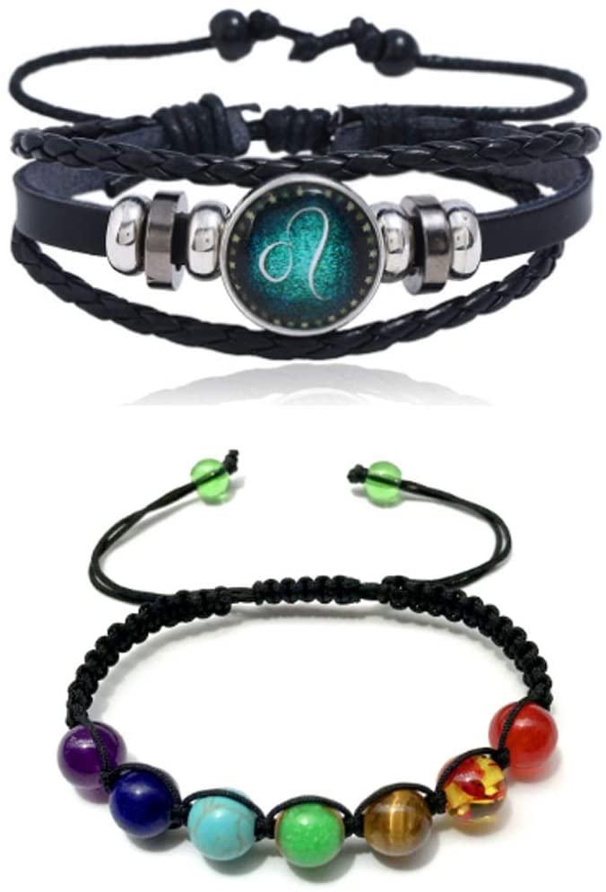 RUTILISM Personality 12 constellation leather vintage woven bracelet and color stone bead bracelet 2 piece set (Leo)