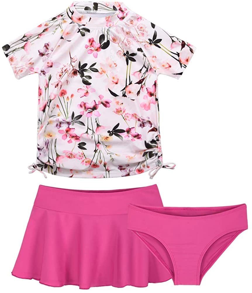Cadocado Girls 3 Pieces Rash Guard Swimwear UPF 50+ Floral Short Sleeve Swim Set