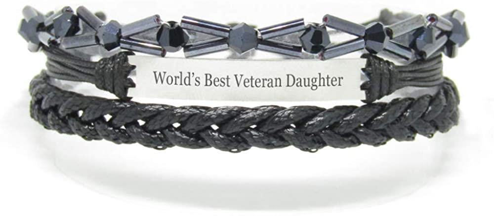 Miiras Family Engraved Handmade Bracelet - World's Best Veteran Daughter - Black 7 - Made of Braided Rope and Stainless Steel - Gift for Veteran Daughter