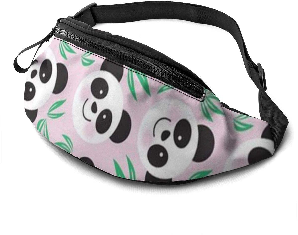 Cute Panda Pattern Fanny Pack For Men Women Waist Pack Bag With Headphone Jack And Zipper Pockets Adjustable Straps