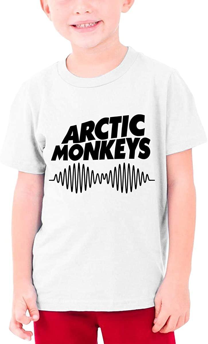 Arctic Monkeys Teenager Boys Girls T-Shirt Short Sleeve Creative Round Neck Top White