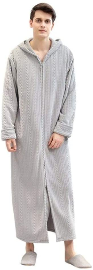 llwannr Bathrobe Robe Nightgown Sleep,Women Winter Bathrobe Warm Thick Flannel Velvet Robes Men's Lengthened Bathrobe Zipper Home Clothes Long Sleeved Robe Coat,Gray,M