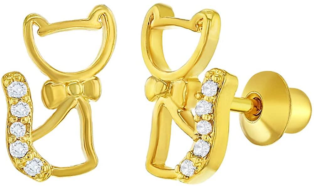18k Gold Plated Clear Cz Kitten Cat Earrings Screw Back Girls Kids Children