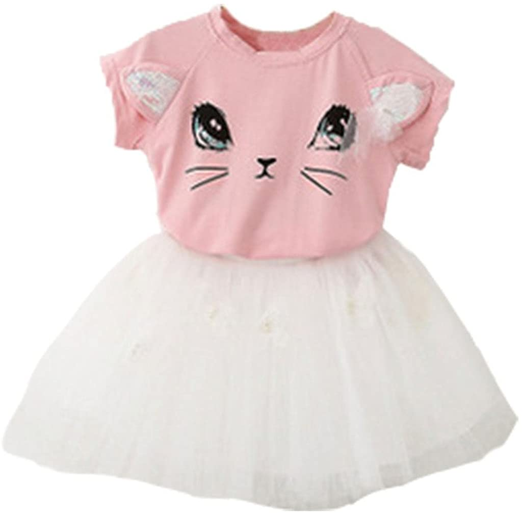 Baby Grils Outfit Clothes Cute Kitty Girls T-Shirt + Tutu Skirt Skirt 2 Pcs Set