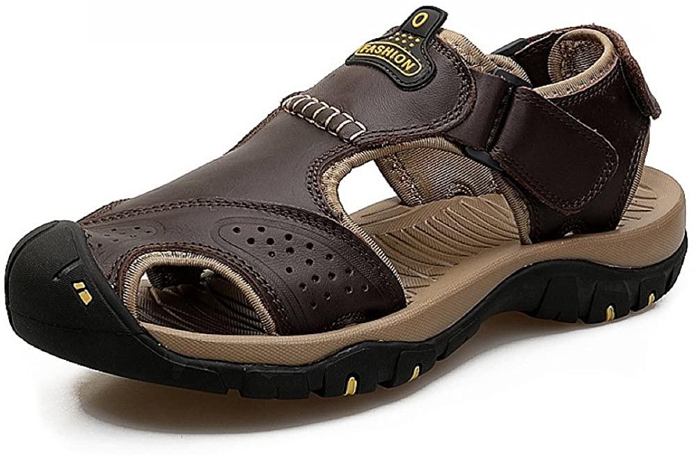 JINTOHO Men Genuine Leather Sandals Big Size Male Sandals Summer Beach Shoes
