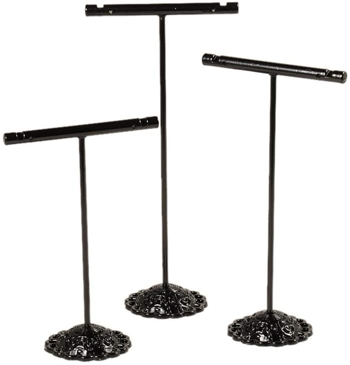 CHGCRAFT 5sets T Bar Iron Earring Displays Sets Jewelry Display Rack Jwvelry Tree Stand Gunmetal T Bar Iron Earring Displays Sets for Crafts Display, 90x60x34mm