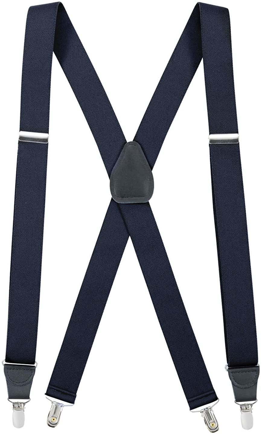 Hold'Em Suspender for Men X-Back Clip on Leather Crosspatch Made in USA