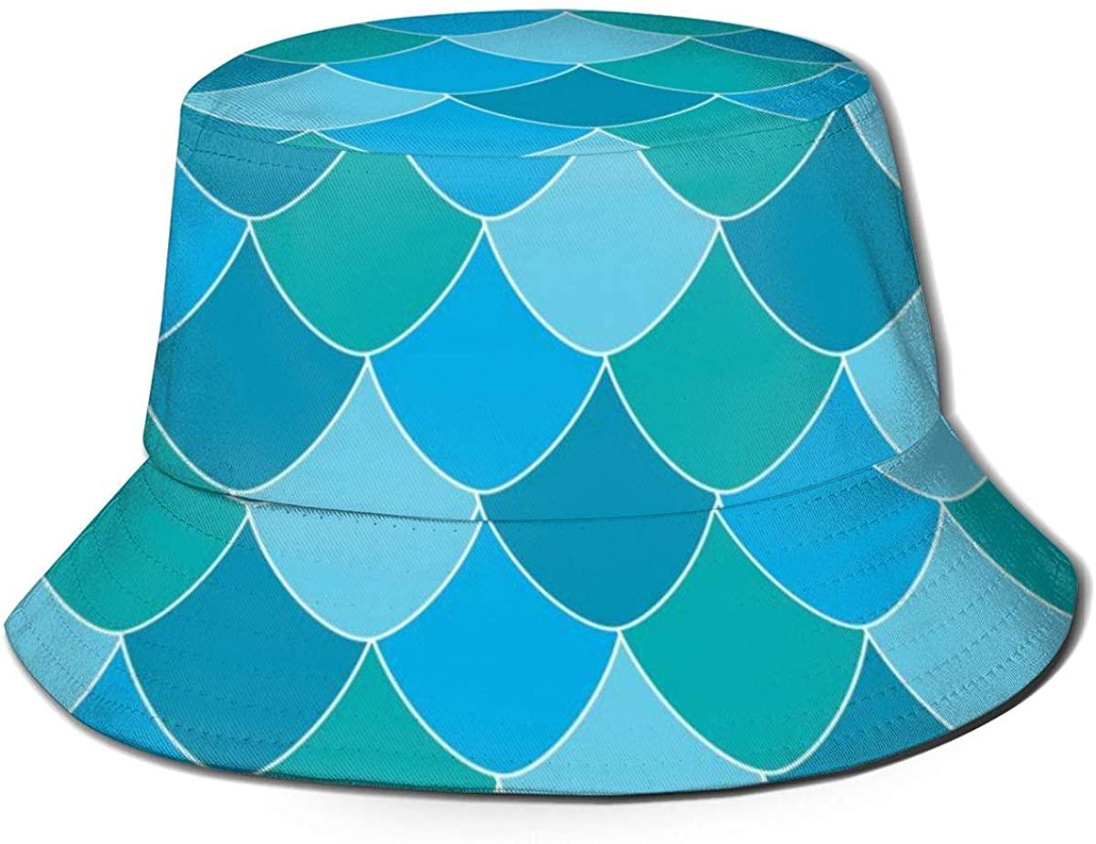 SDHEIJKY Unisex Cute Panda Pattern Bucket Hat Summer Fisherman's Hat Colorful Mermaid Fish Scale Print