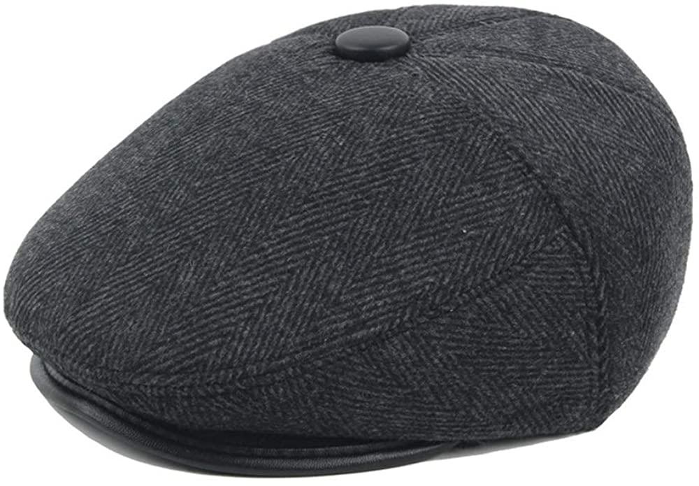 AJUAN Retro Beret Cap Winter Wool Ladies Cotton Male Middle-Aged Casual Cap Warmth Cap