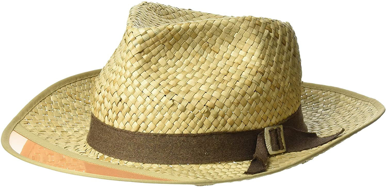 BRIXTON Men's Hunter Medium Brim Straw Fedora Hat