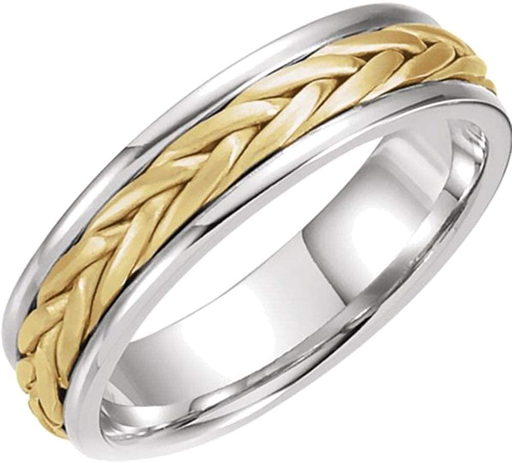 Bonyak Jewelry 14k White Gold/Yellow 5mm Woven Band - Size 11
