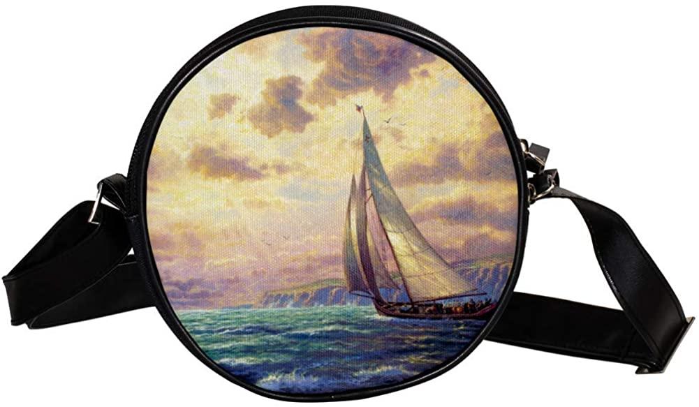 Coin Purse For Kids Sea, Sailboat Mini Crossbody Bag Girls Wallet