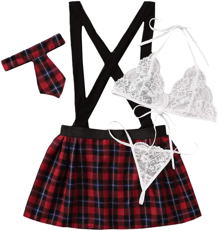 Floerns Women's Sexy Schoolgirl Costume Lingerie Outfit 4 Piece Set