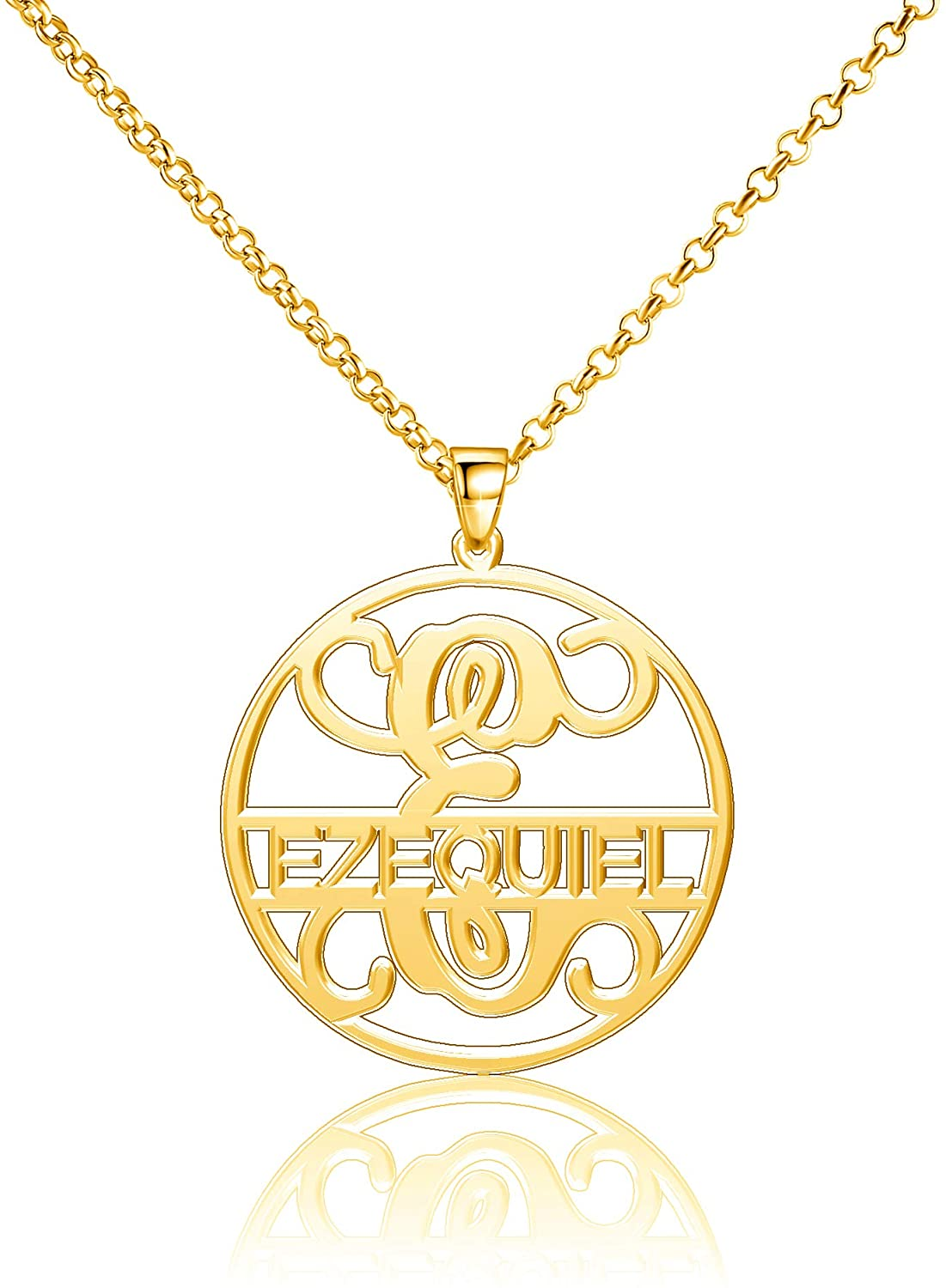 Moonlight Collections Ezequiel Necklace Initial Custom Necklace Name