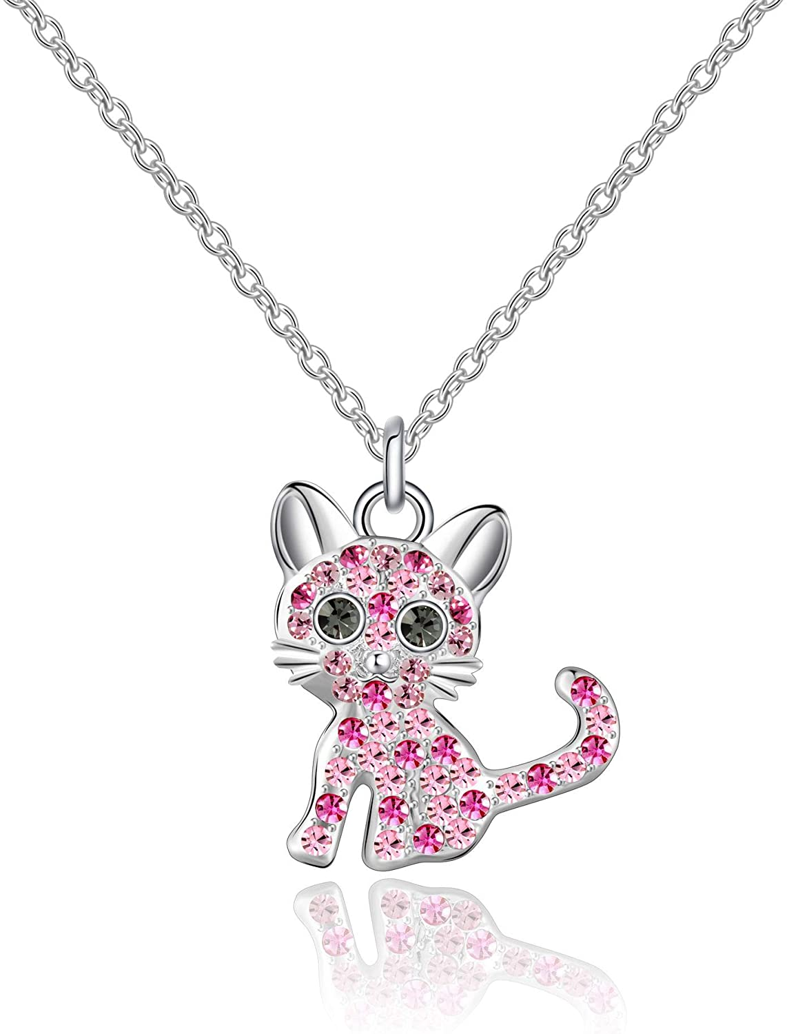 luomart Girls Cat Birthstone Necklaces,Silver Plated Kitty Pendant Jewelry Set Gifts for Kids Women