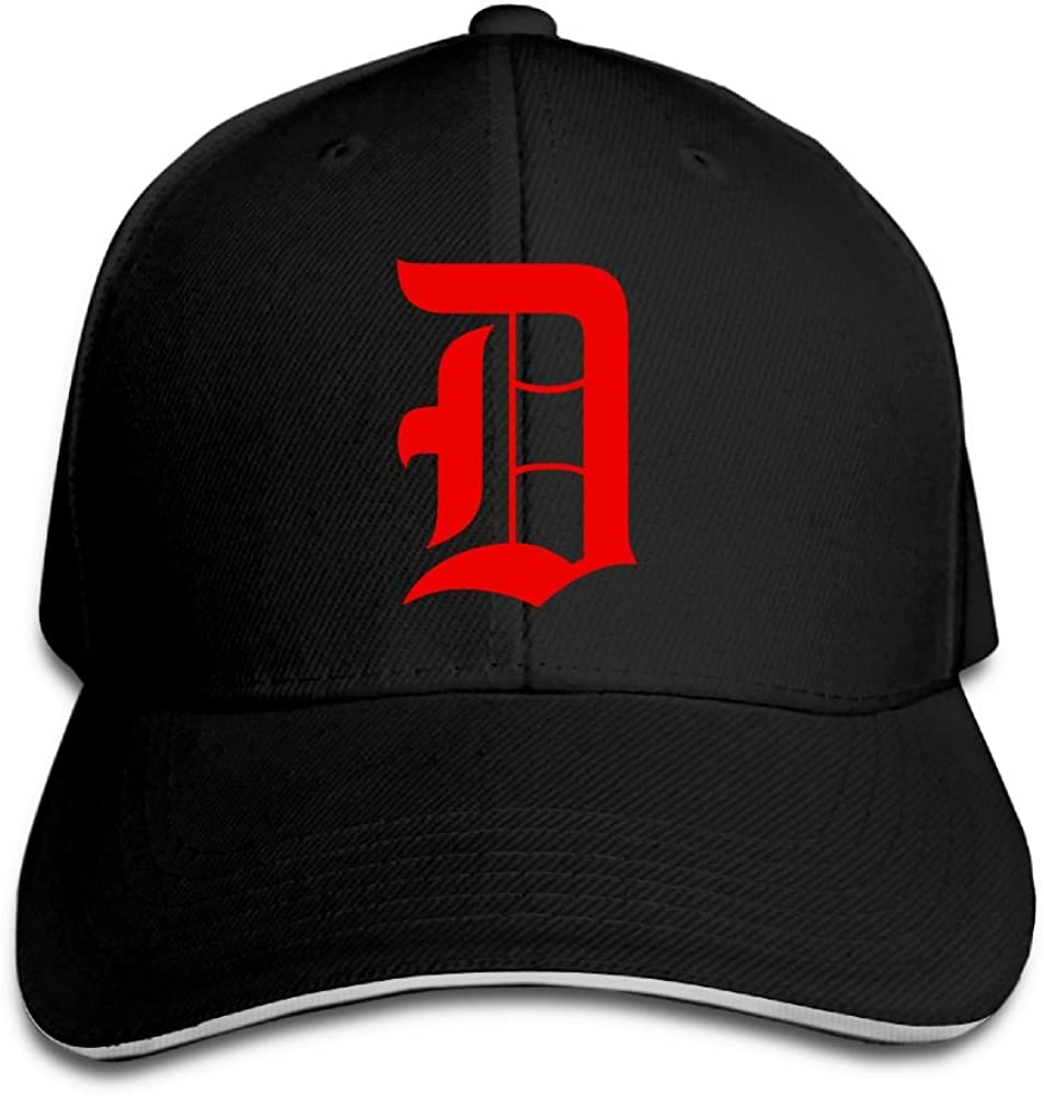 SeeSeasan Old English D Detroit Red Custom Sandwich Peaked Cap Unisex Baseball Hat