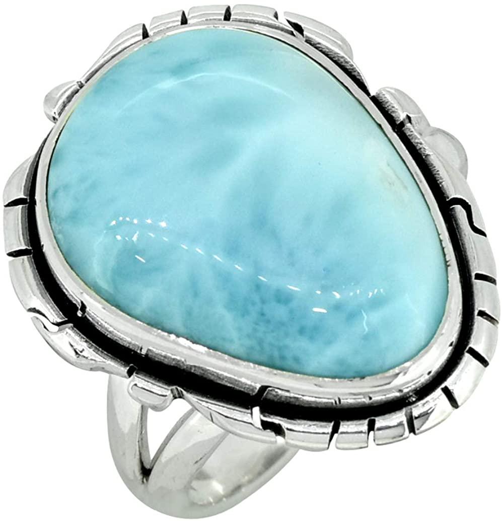 YoTreasure Larimar Ring Solid 925 Sterling Silver Jewelry