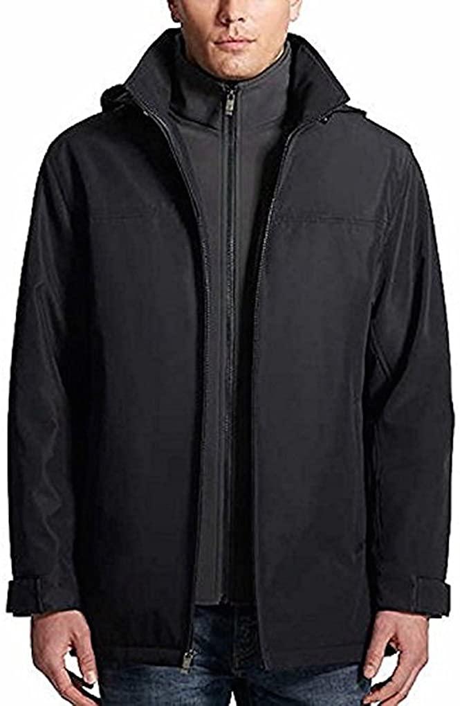 Weatherproof Ultra Tech Mens Jacket, Double Zip Hooded Water Repellant Coat (XX-Large, Midnight)