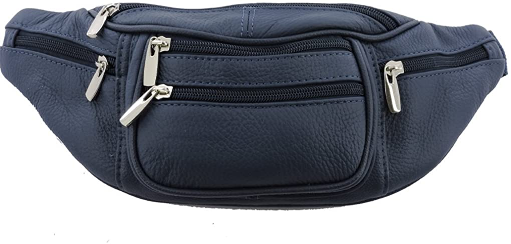 Genuine Leather Fanny Pack Waist Bag Body Pouch Pockets Organizer Phone Holder