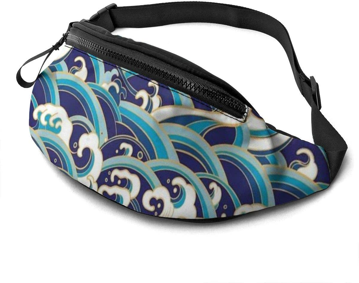 Traditional Oriental Fanny Pack for Men Women Waist Pack Bag with Headphone Jack and Zipper Pockets Adjustable Straps