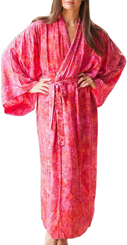 NOVICA Pink Rayon Batik Robe, Batik Blush' (One Size Fits Most)
