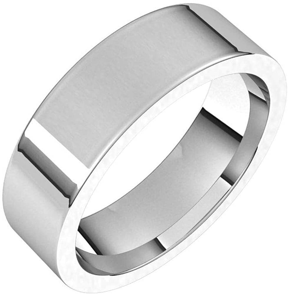 Tarnish Resistant Solid 925 Sterling Silver 6mm Flat Comfort Fit Wedding Band Size 9.5
