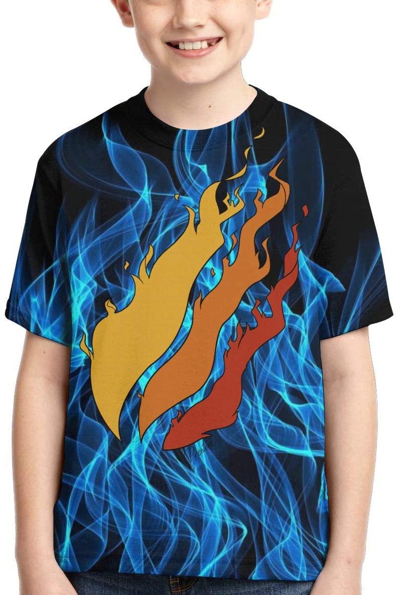 Wesy Boys T-Shirt Fire Short Sleeve Tee Polyester 3D Print for Kids