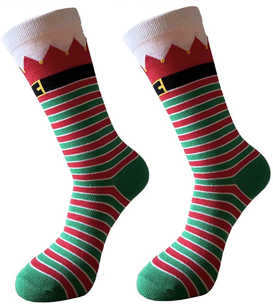 Christmas Socks Unisex Funky Novelty Holiday Crew Socks Stripe Socks