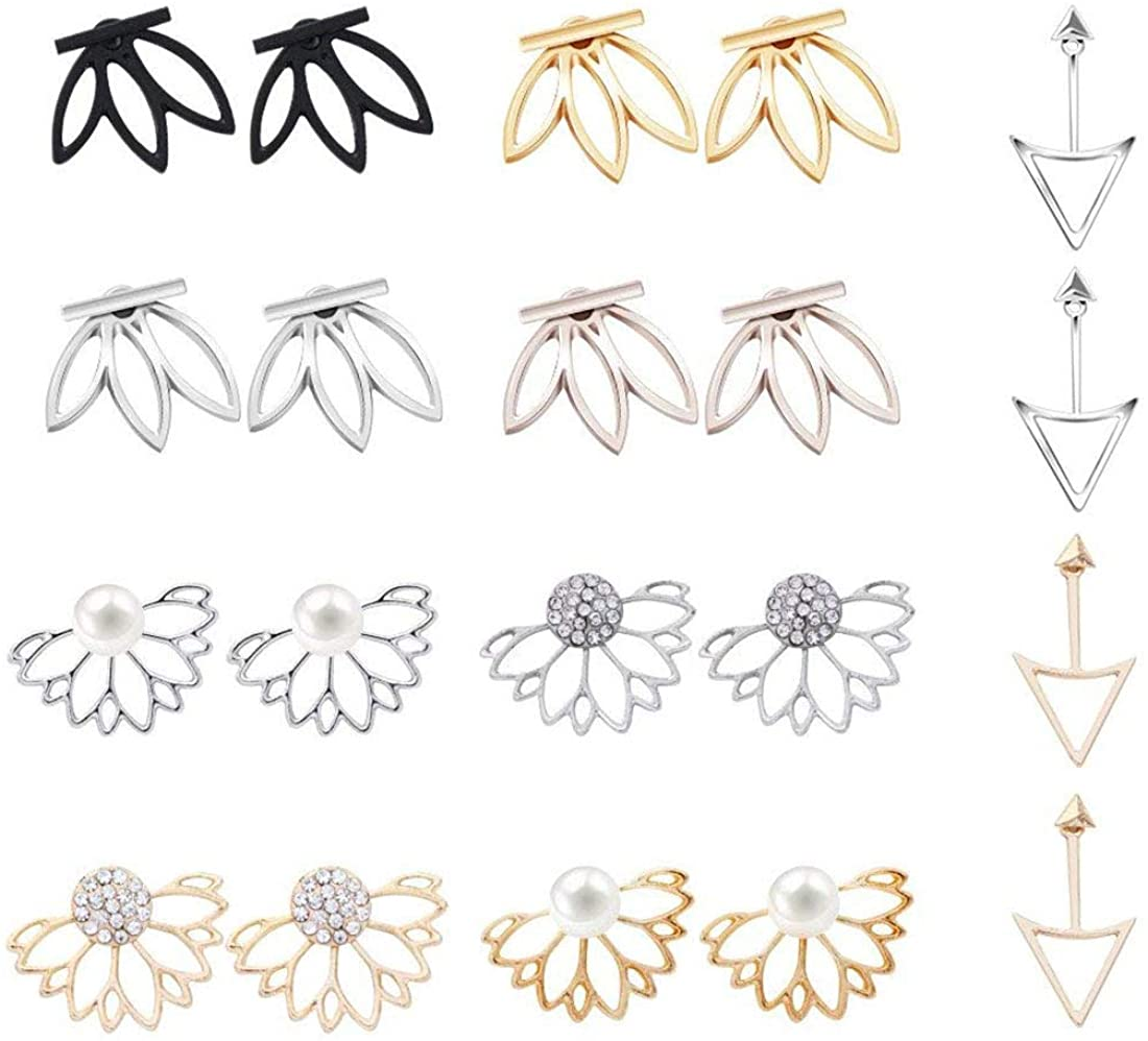 10 Pairs Lotus Flower Earrings Fashion Simple Chic Earring Front and Back Stud Earrings for Women Girls
