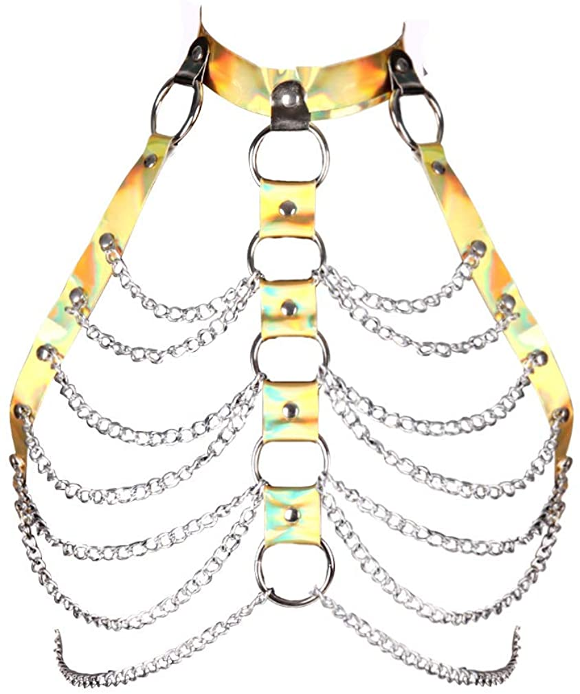 Women Punk Leather Metal Chain Harness Bra Gothic Crop Tops Body Cage Waist Belts Adjust EDC Halloween Festival Rave Costume (Yellow-Silver 448)