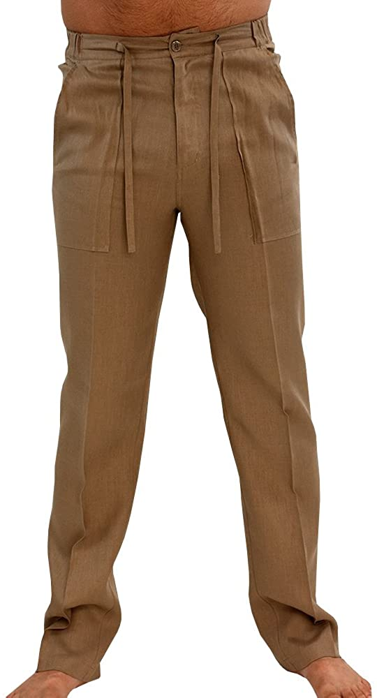 Karlywindow Mens Casual Cotton Linen Pants Elastic Waist Trousers Cargo Beach Pant
