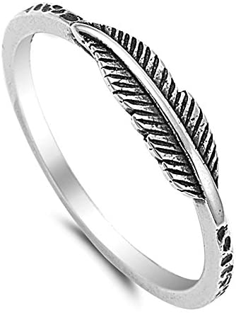LOLIAS Fashion Feather Ring for Women Girls Leaf Jewelry Ring Size 4-11