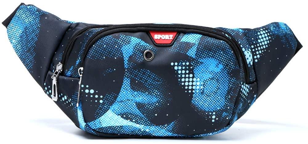 Retro Festivel Fanny Pack, Plus Size 3 Zipper Pockets Wait Hip Bum Bags for Rave Party Travel Hiking, Adjustable Belt for Men Women Teens (Blue Sky)