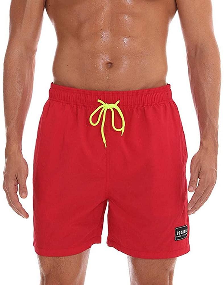 ESCATCH Mens Swim Trunks Quick Dry Beach Shorts with Pockets