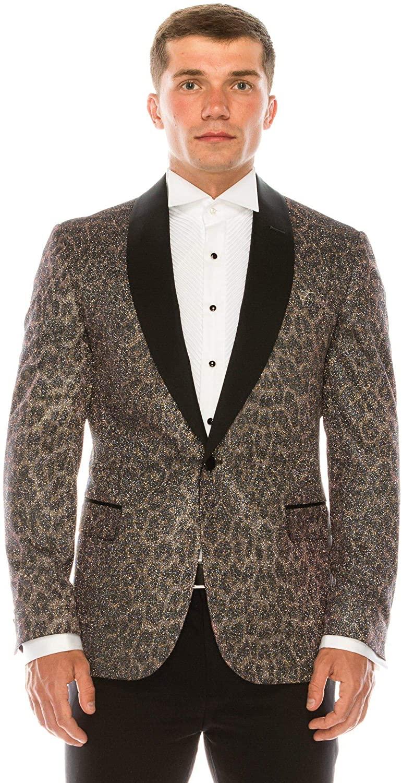 RNT23 JEANS Ron Tomson Alfred Glitter Embellished Leopard Print Tuxedo