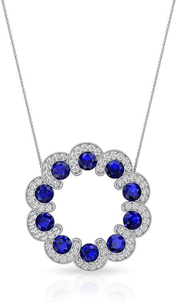 1.85 Carat Sapphire Diffused IDCL Certified Moissanite Open Circle Pendant, Blue Stone Bridal Wedding Charm Halo Necklace, September Gemstone Pendants